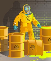 man in biohazard antiradioactive suit fixing nuclear toxic waste barrels