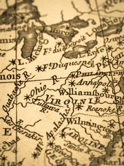 古地図 アメリカ・バージニア州
