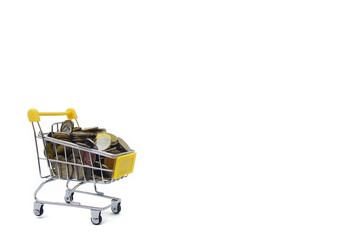 Shopping Cart Has Filled Coins Over White Background