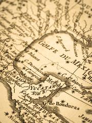 古地図 ユカタン半島とメキシコ湾
