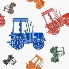 Editable Farm Tractor Vector Illustration Seamless Pattern