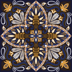 India paisley pattern, decorative textile, wrapping, pillow or kerchief decor. Boho style vector design.