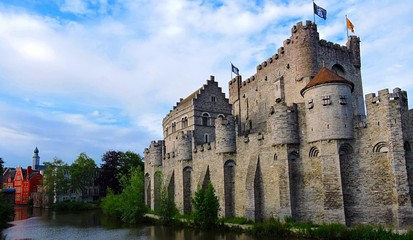 Castle in Ghent, Belgium on Canal
