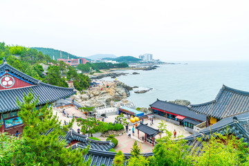 BUSAN,SOUTH KOREA-July 11,2017: Tourist visits Haedong Yonggung Temple is a Buddhist temple and large one and Temple sits upon a cliff overlooking the East Sea in Busan.