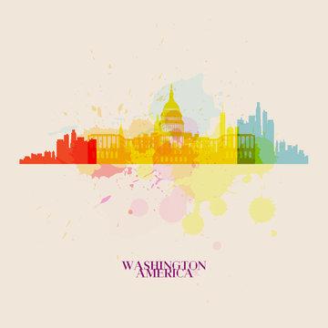 WASHINGTON Vector silhouettes of the city