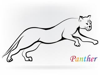 Logo panther jumping silhouette design
