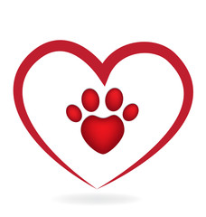 Love heart with paw print dog icon logo vector image
