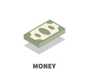 Money icon, vector symbol in isometric 3D style isolated on white background.