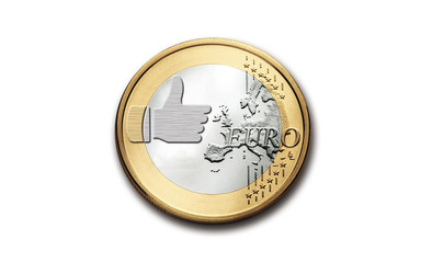 One euro with simbol of similar social network like