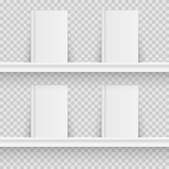 Blank book on book shelf. Hardcover Book Mock-Up isolated on transparent background. Vector illustration.