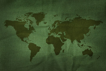 World Map on Military Army Fabric Texture background