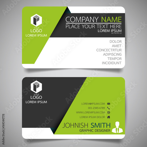 green modern creative business card and name card horizontal simple