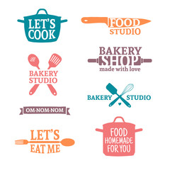 Set of color vintage retro handmade badges, labels and logo elements, retro symbols for bakery shop, cooking club, food studio or home cooking. Template logo with silhouette cutlery. Vector.