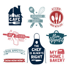Set of color vintage retro handmade badges, labels and logo elements, retro symbols for bakery shop, cooking club, cafe, food studio or home cooking. Template logo with silhouette cutlery. Vector.