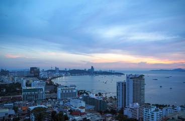Twilight sky with Pattaya cityscape , Chonburi , Thailand
