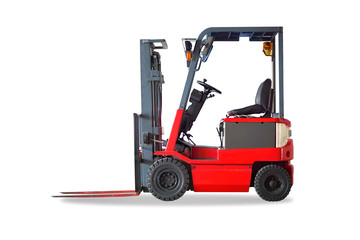 Red forklift truck shot on white background