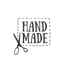 Handmade badges, labels and logo elements, retro symbols for local sewing shop, knit club, handmade artist or knitwear company. Template logo. Vector.