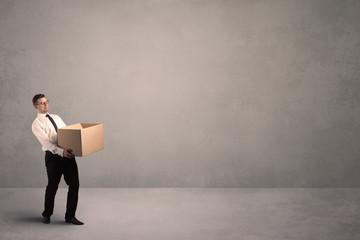 Businessman with empty box