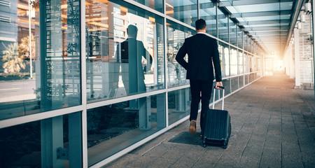 Businessman walking outside public transport building with lugga