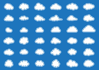 Cloud vector icon set white color on blue background