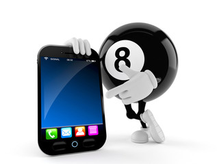 Eight ball character with smart phone