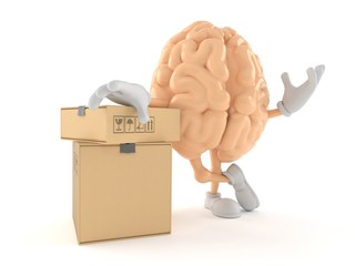 Brain character with stack of boxes