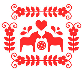 Traditional Scandinavian folk decoration vector from Sweden