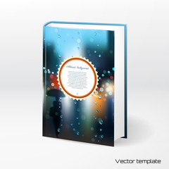 Vector template book cover. Rain, wet glass, street, a man with an umbrella. Place for your text. Realistic shadow.