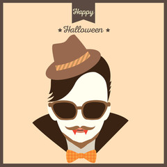 Vampire having mustache put on sunglasses and hat on hipster style for Halloween party.