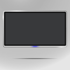 A realistic TV screen. Modern stylish LCD panel, LED type. A model of a large computer and TV screen. Empty TV template. Element of graphic design for catalog, website, as a layout. Illustrations.