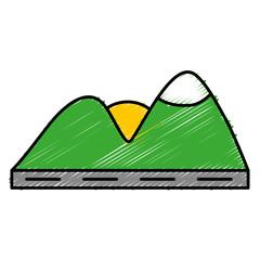 mountains and sun icon