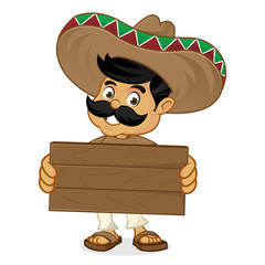 Mexican man cartoon holding wood plank