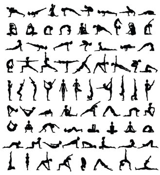 Women silhouettes. Collection of yoga poses. Asana set.