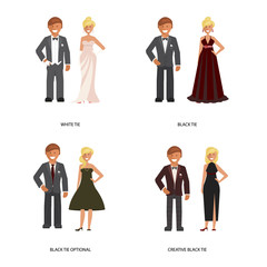 Black and white tie dress code. Man and woman in smart casual style suits isolated on white background. Vector illustration of people in formal clothes.