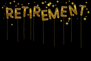 Gold foil retirement party style balloons. Dramatic black backgr