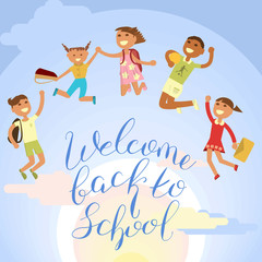 Back to school concept. vector isolated illustration of student children and brush lettering. eps10
