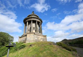 Robert Burns Monument on Regent Road in Edinburgh, Scotland.  Robert Burns is considered the National Poet of Scotland.