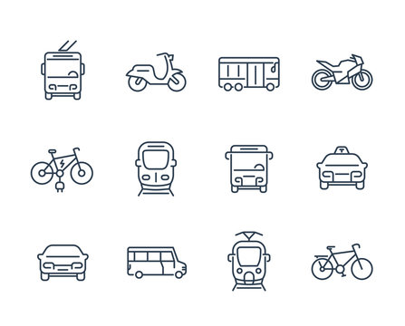 City transport icons, transit van, cab, bus, taxi, train, bikes, linear style