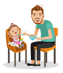 Baby Eating  Father is feeding Little daughter. baby sitting in the highchair.  vector graphics creative and versatile  to use as illustrations for print, web, interactive,Isolated on white background