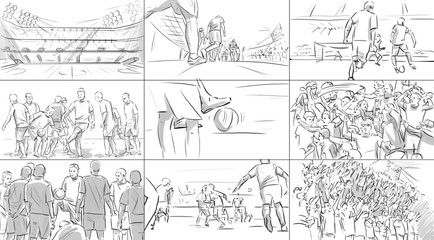 Storyboard with soccer players