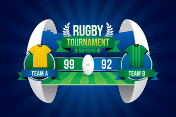 Rugby ball design with team players and scoreboard.