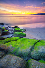Panoramic view of  the golden sunset at Sungai Batu beach, Teluk Kumbar