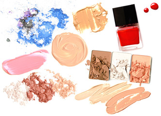 Make up set of various crushed eyeshadows and powder isolate.