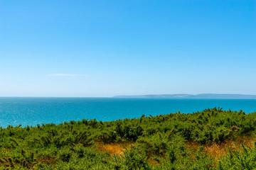 Ocean view with hills, green vegetation background and beautiful blue ocean tile