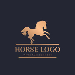 Gold Elegant Horse Symbol Logo Template