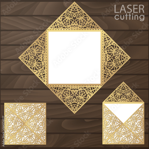 Laser cut square envelope with patterned cornersding laser cut square envelope with patterned cornersding invitation card template vector cutout paper stopboris Choice Image