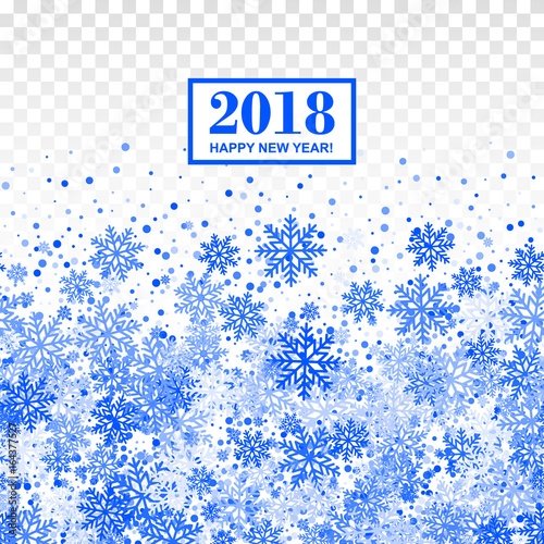 2018 happy new year border with blue repeated snowflakes on black transparent checkered background all isolated