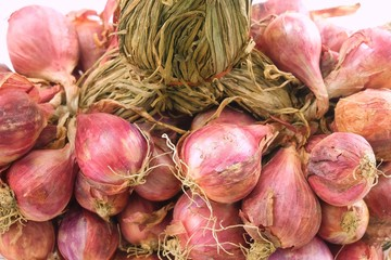 Close Up Bunch of Fresh Red Onions