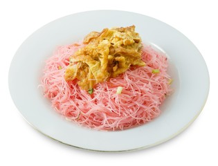 Red Fried Rice Vermicelli on White Background