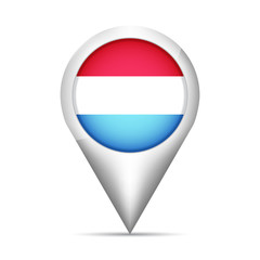Luxembourg flag map pointer with shadow. Vector illustration